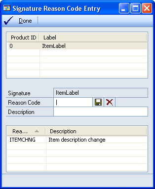 2. Choose the GoTo button and select Reason Codes to open the Signature Reason Code Entry window. 3. Select an electronic signature to enter a reason code for.