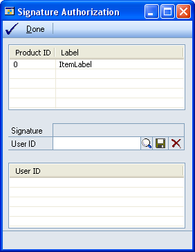 2. Choose the GoTo button and select Signature Authorization to open the Signature Authorization window. 3. Select an electronic signature to assign users to.