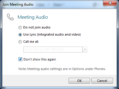 When you join your meeting, you may see the Meeting Audio prompt displayed. Select Use Lync (integrated audio and video), select Don t show this again, and click OK, as shown in Figure 21.