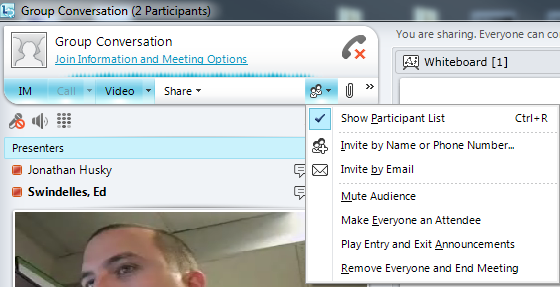 Unscheduled Meetings Unscheduled meetings can be started at any time by using the Meet Now option found by clicking on the down arrow on the top right of the Lync 2010 interface, as shown in Figure