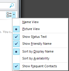 Display Options There are a number of ways that you can change the way your contacts are displayed. The default display option is Groups.