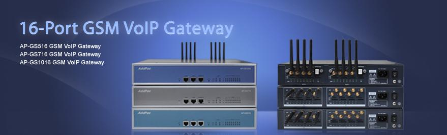 AP-GS1016 GSM VoIP Gateway provides two(2) module slots for 8-Port GSM VoIP Module. The other products provide Fixed Type 16-Port GSM Interface.