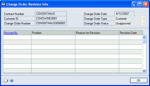 CHAPTER 18 PROJECT CHANGE CONTROL View approval history for a change order You can view approval history for a change order. 1. Open the Change Order Approval Info window.