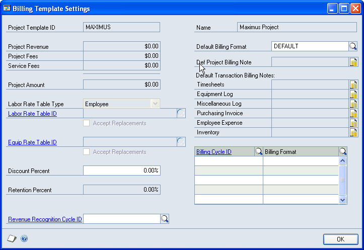 CHAPTER 6 PROJECT TEMPLATES 4. Click Billing Settings to open the Billing Template Settings window. This window is similar to the Project Billing Settings window.