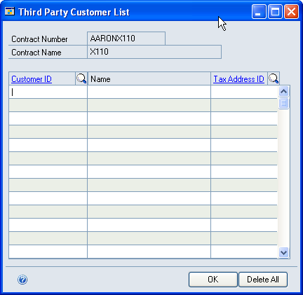 PART 3 COST BUDGETING 1. Open the Third Party Customer List window.