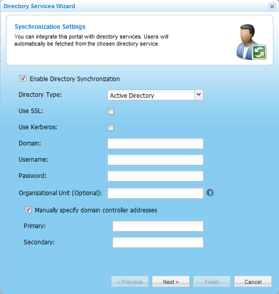 Managing User Accounts 5 The Users > Directory Services page appears. 2 Click Settings.