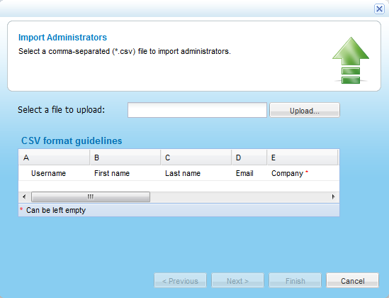 6 Managing Administrators 10 External Account ID (Optional) 11 Comment (Optional) Optional fields can be left blank. To import administrators from a *.