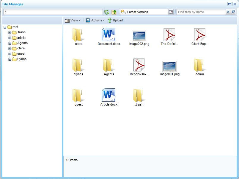 The File Manager window opens displaying files from the last backup operation or snapshot.