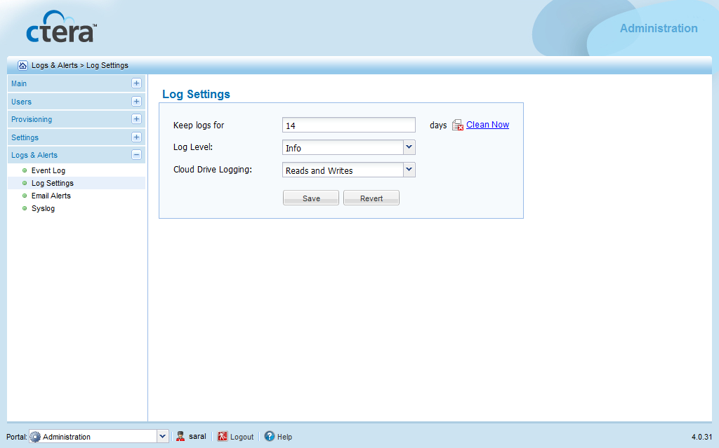 Monitoring the CTERA Portal 20 Configuring Event Log Settings Global administrators can configure Event Log settings for all virtual portals.
