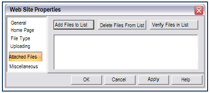 Attached Files section Web Studio can automatically upload any additional files when it uploads your website. This comes in handy when you are using other programs with Web Studio.