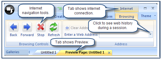 Web toolbar In the Default browser, you will use your browser s navigation tools. When you use the Web Studio browser, the navigation tools are displayed above the Caption Bar.