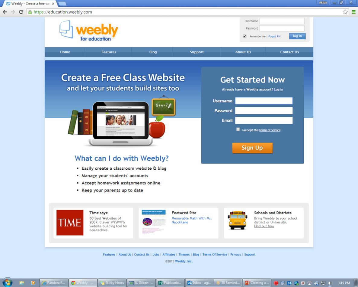GETTING STARTED 1. Using Google, type in Weebly for education. This site provides a free upgraded Weebly site for teachers. Click on the search results. 2.