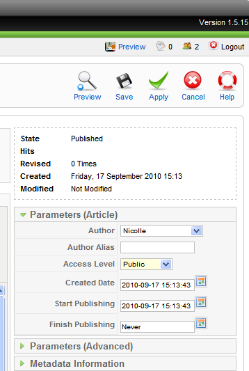 the article. Once you are happy with your articles and the parameters, select Yes to Publish then click Apply.