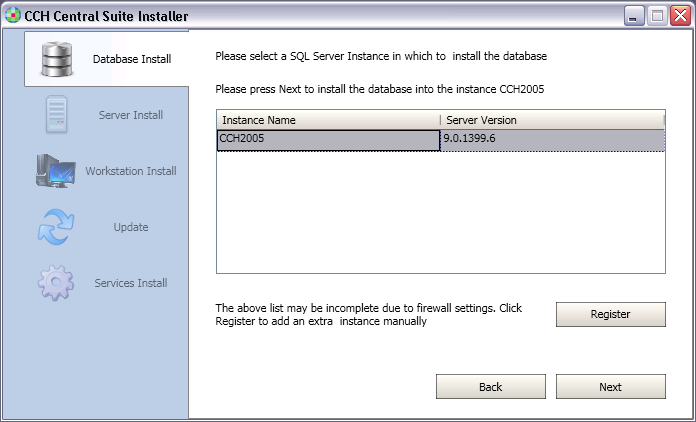 1.3 Select the instance of SQL Server with CCH Central this is typically called either CCH2005 or CCH2008, depending on the current version of SQL Server