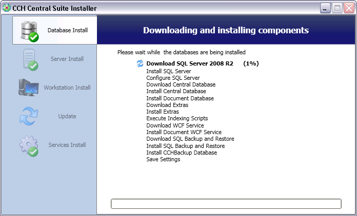 1.7 If not already installed, SQL Server 2008 R2 will first be downloaded and installed. Otherwise, a new Document database will then be installed.