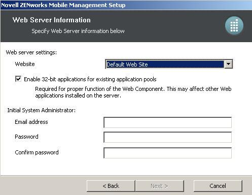 5. At the Web Server Information screen, enter the following: Select the Website to which you are installing.
