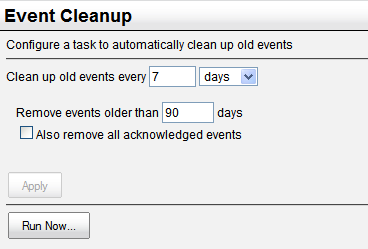 Event Cleanup Event Cleanup Menu Selection: Event Cleanup Minimum Required Authorization: PerleVIEW Administrator PerleVIEW provides an event cleanup task that will remove old and/or acknowledged