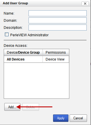 PerleVIEW User Accounts Click the Add button to Add device access rules for this user. You can add multiple device access rules for the same user.