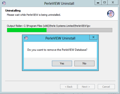 PerleView Software Update You will be prompted on whether you want to remove the PerleVIEW database.