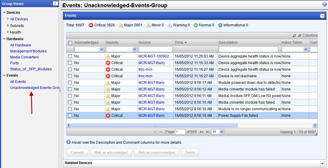 Creating Custom Views by Groups View Group of Unacknowledged Events This view has the same properties as any other event view.