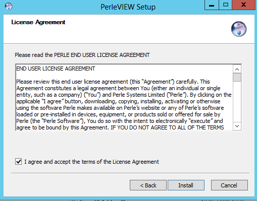 3 Getting Started Chapter 3 Installing PerleVIEW on your Server The PerleVIEW Setup Wizard installs PerleVIEW on your Windows Server and helps you setup the operating parameters to be used with