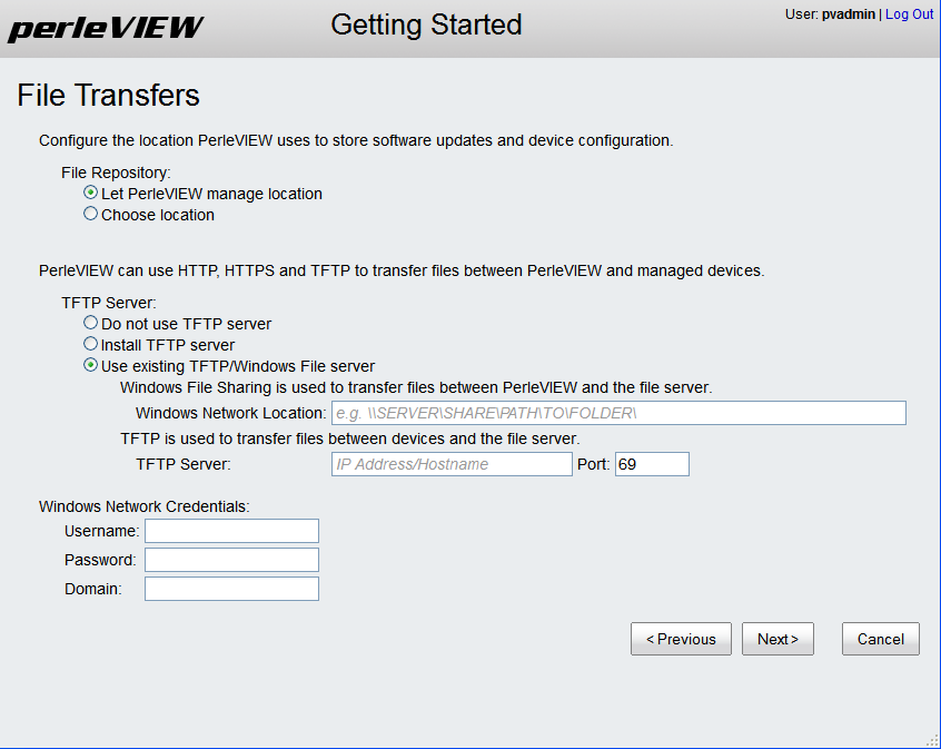 Getting Started Wizard File Transfers PerleVIEW uses file transfers for a number of functions.