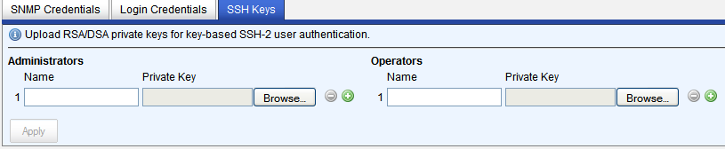 Configure Device Settings Operator Credentials Use operator login depending on the privilege level that the users has on the target device. These credentials are used to log into the device.