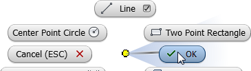 i) Press the TAB key to lock in this value. j) Move the cursor to the left and when the parallel symbol appears, click in the graphics window. k) Next you sketch an arc while in the line command.