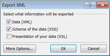 9. Click Finish button. 10. Click Close button to close the Export Text File dialog. To export data as XML file: 1. Open the table or query to export. 2. Click External Data tab. 3.