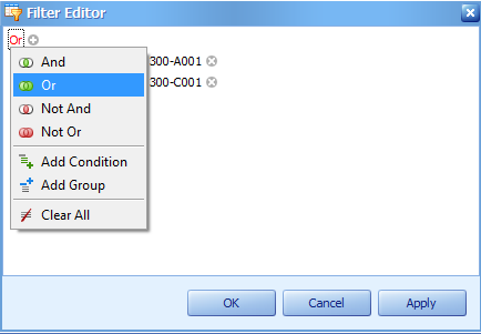 You also can use Filter Editor in filtering your documents. 2.