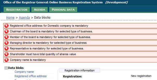5. Enter/correct block information, or continue registration process by preparing online document (chapter 3.11 Signing online document ).