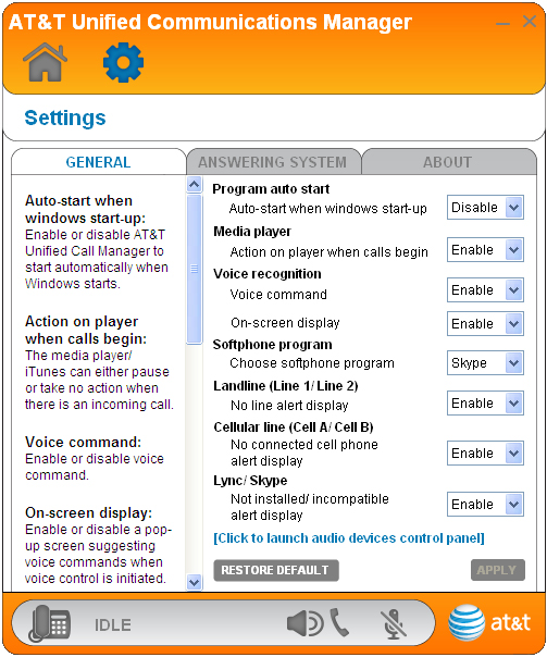 Getting started Quick reference guide - Settings panel 1 2 3 4 1. 2. 3. 4. General, ANSWERING SYSTEM, and About tabs --. Click the tab of the setting you want to edit (see Settings on pages 11-20).