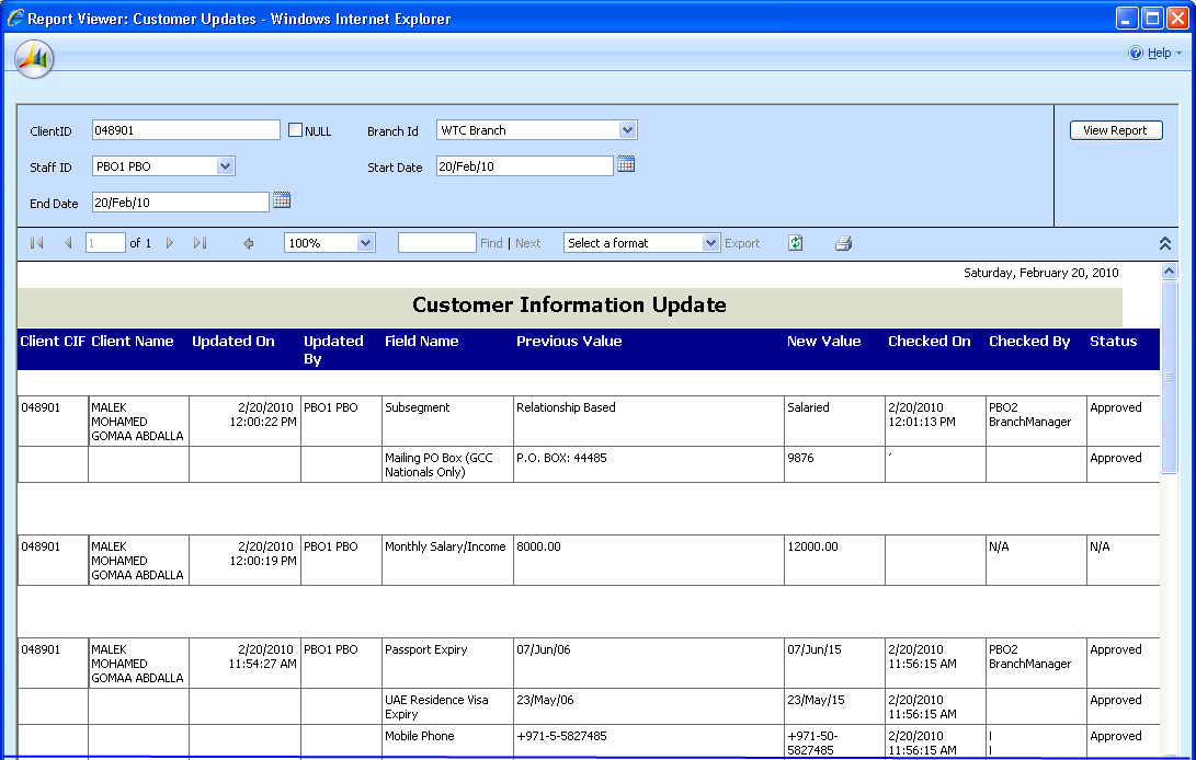 Information Update Auditing All customer changes leave audit