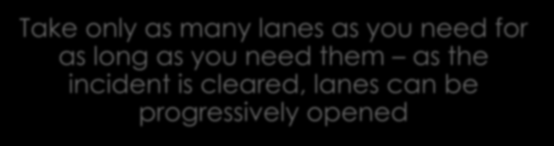 Progressively Open Lanes Take only as many lanes as you need for as long as