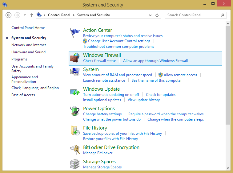 Windows Firewall is turned on by default in Windows 8.1, and it runs silently in the background as a service.
