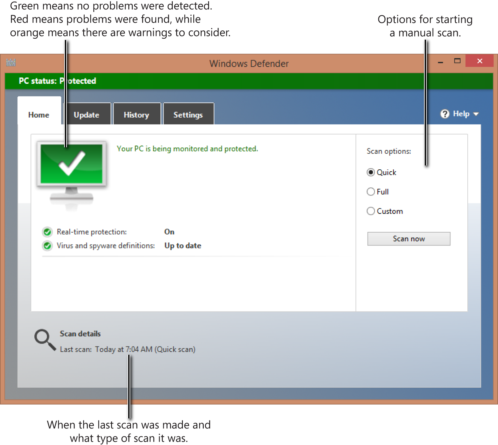 The Windows Defender interface is simple and easy to use.