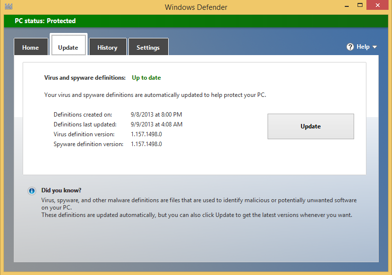 Update This tab displays details about the latest update of definitions Windows Defender made.