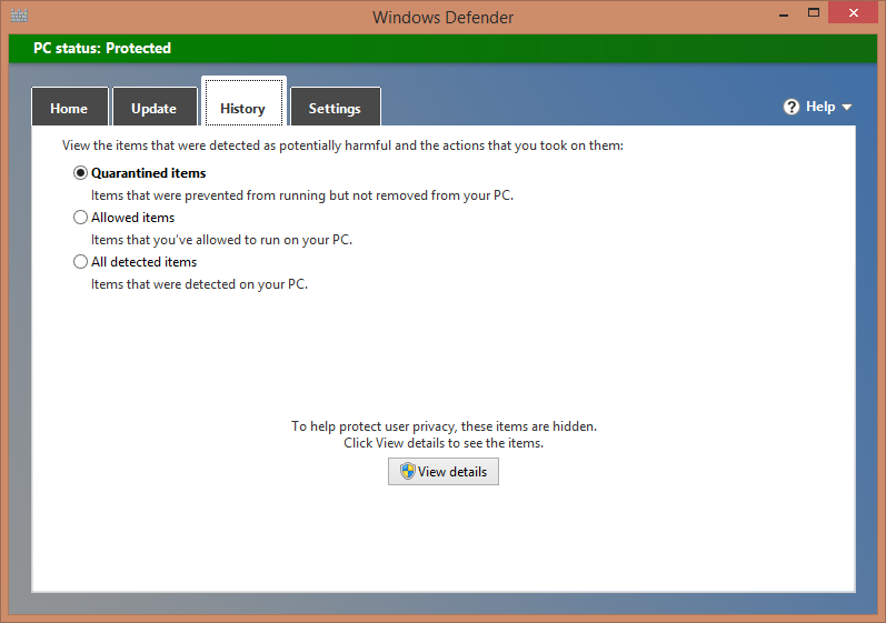 History This tab is for viewing details about the threats Windows Defender has detected.