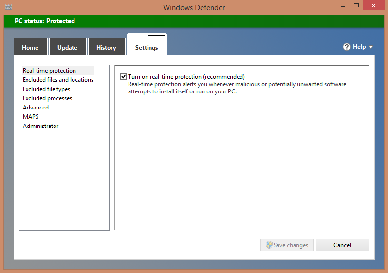 Settings On this tab, you can customize how Windows Defender runs.