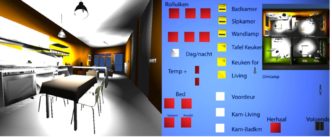 Figure 2: 3D house used in Domotica-2 data collection, left user s view, right wizard s view ber of utterances per command.