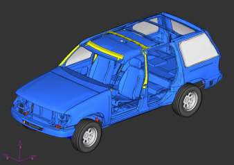 Roof Modification Yellow color indicates rigid material Vehicle Model I (SWR = 1.95) Vehicle Model II (SWR = 2.