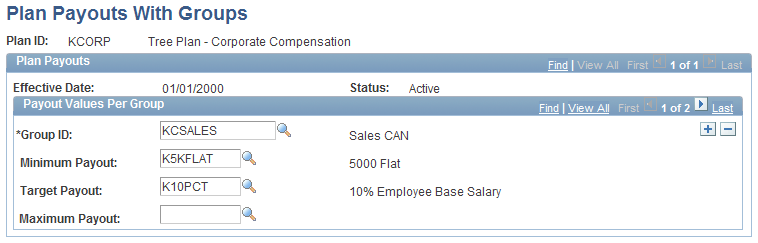 Setting Up Variable Compensation Plans Chapter 4 Plan Payouts With Groups page Group ID Select an ID from the available options, which are groups in the VC Tree that you specified for the plan.