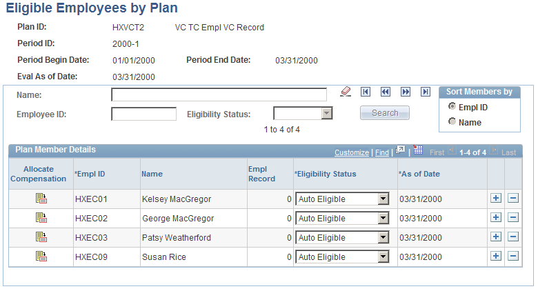 Processing Eligibility and Proration Chapter 6 Eligible Employees by Plan page Period Begin/End Eval As of Date (evaluation as of date) The dates that you defined for this VC plan and payout period
