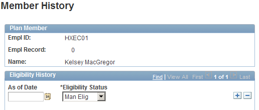 Processing Eligibility and Proration Chapter 6 Member History page The system displays the plan member's identification information from the corresponding data row in the Eligible Employees by Plan