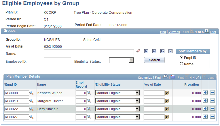 Chapter 6 Processing Eligibility and Proration Eligible Employees by Group page The fields on this page are identical to the fields on the Eligible Employees by Plan page with this additional field: