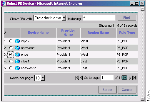 Creating the Service Requests Chapter 10 Figure 10-9 MPLS Service Request Editor Step 6 PE: Click Select PE. The Select PE Device dialog box is displayed, as shown in Figure 10-10.