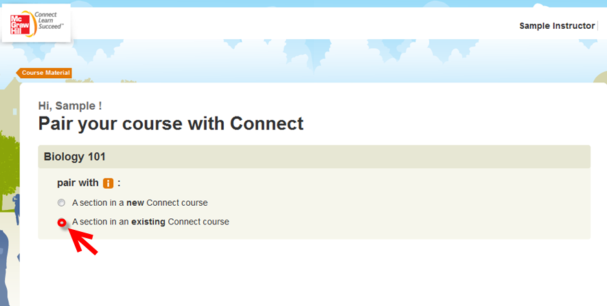 3. Select the existing Connect course that you just paired. 4. Choose your course and click Save. Congratulations!