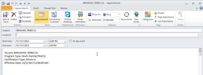 10. Double-click the appointment to see its details. Sync Appointments from the Calendar Screen 11.
