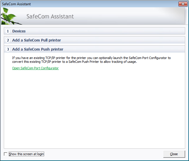 2. Add a SafeCom Pull Printer Add a SafeCom Pull printer Click Windows Add Printer Wizard to add a shared printer to be used for Pull printing. Follow the instructions in the device manual.