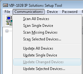 12. When the Valcom device configuration is complete, select the Update Changed Devices option from the Communications menu.